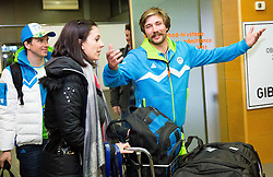 Peter Dokl and Filip Flisar at reception of Slovenia team arrived from Winter Olympic Games Sochi 2014 on February 25, 2014 at Airport Joze Pucnik, Brnik, Slovenia. Photo by Vid Ponikvar / Sportida