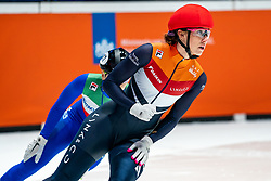 Suzanne Schulting of Netherlands in action on 500 meter during ISU World Short Track speed skating Championships on March 06, 2021 in Dordrecht