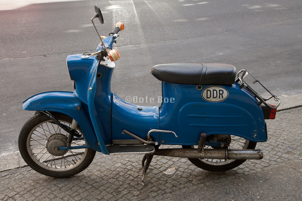 blue old DDR motor scooter Germany Berlin