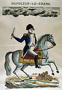 Napoleon I (1769-1821). 19th century popular hand-coloured woodcut