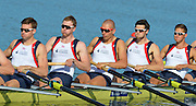 Sydney, Australia.  GBR M8+, Right to Left,  Lance TREDELL, Matthew GOTREL, Mo SBIHI, Alex GREGORY and  Pete REED,  Men's Eight Heat. FISA World Cup I. and the Sydney International Rowing Regatta. Sydney International Rowing Centre, Penrith Lakes, NSW.   Friday   22/03/2013 [Mandatory Credit. Peter Spurrier/Intersport Images]..