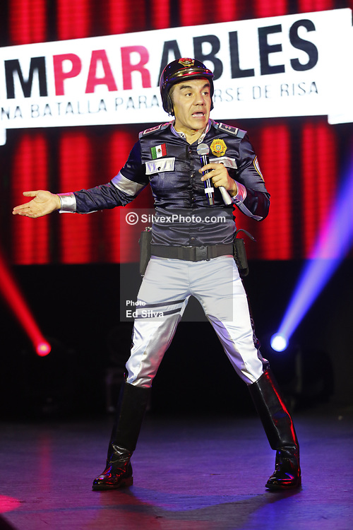 """ANAHEIM, CA - NOVEMBER 11: Actors and comedians Adrian Uribe and Omar Chaparro perform on stage during the presentation of their comedy """"Los Imparables"""" at the M3 Live in Anaheim, California on November 11, 2017.  Byline, credit, TV usage, web usage or linkback must read SILVEXPHOTO.COM. Failure to byline correctly will incur double the agreed fee. Tel: +1 714 504 6870."""