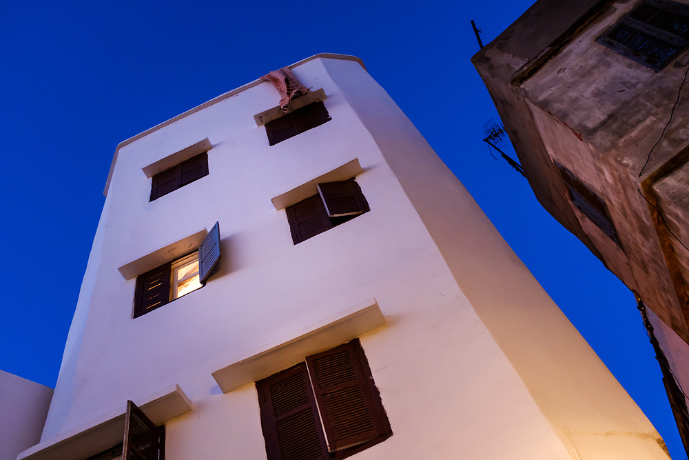 CASABLANCA, MOROCCO - CIRCA APRIL 2018: Corner of the Medina in Casablanca at night.