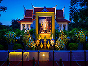 25 OCTOBER 2017 - BANGKOK, THAILAND: A shrine for the King at a temple in central Bangkok during the funeral for Bhumibol Adulyadej, the Late King of Thailand. People will bring sandalwood flowers to the shrine on Thursday, the day of the cremation. He died in October 2016 and was cremated during an ornate five day funeral on 26 October 2017. He reigned for 70 years and was Thailand's longest serving monarch.         PHOTO BY JACK KURTZ