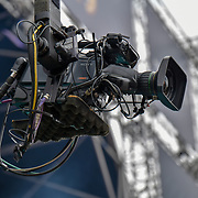 videographer crane operator at West End Live 2019 - Day 2 in Trafalgar Square, on 23 June 2019, London, UK.