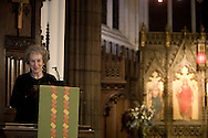 Internationally-acclaimed Canadian author Margaret Atwood, pictured in the pulpit of St. John's Church in Edinburgh, rehearsing the launch of her new book entitled 'Year of the Flood' which took place at a special performance on Sunday, November 30. The reading was part of the Edinburgh International Book Festival and launched a three-month tour of 20 readings by Atwood across six countries.