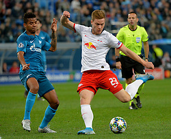 November 5, 2019, St. Petersburg, Russia: Russia. St. Petersburg. November 5, 2019. FC Zenit players Wilmar Barrios and FC RB Leipzig Marcel Halstenberg (left to right) in the UEFA Champions League group stage match between the teams Zenit (St. Petersburg, Russia) and RB Leipzig  (Credit Image: © Andrey Pronin/ZUMA Wire)