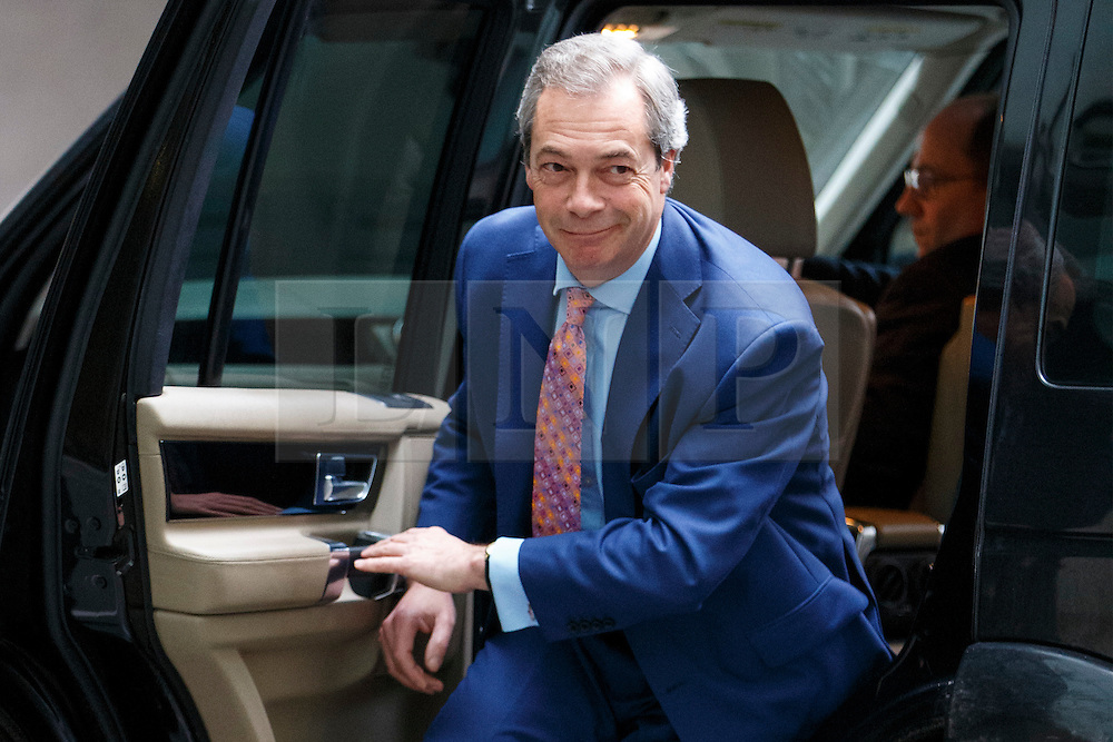 © Licensed to London News Pictures. 21/02/2016. London, UK. UKIP leader Nigel Farage arrives at BBC Broadcasting House in London to appear on The Andrew Marr show on BBC One on Sunday, 21 February 2016. Photo credit: Tolga Akmen/LNP