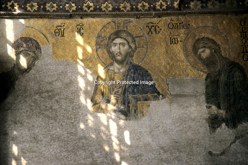 wallpanting of jezus Christ in a mosque in Istanbul
