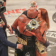 HOLLYWOOD, FL - JUNE 27: Joey Beltran celebrates with girlfriend Britain Hart after defeating Sam Shewmaker during the Bare Knuckle Fighting Championships at the Seminole Hard Rock & Casino on June 27, 2021 in Hollywood, Florida. (Photo by Alex Menendez/Getty Images) *** Local Caption *** Joey Beltran; Sam Shewmaker; Britain Hart