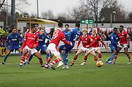 AFC Wimbledon striker Jake Jervis (10) with a scramble oin th ebox during the EFL Sky Bet League 1 match between AFC Wimbledon and Barnsley at the Cherry Red Records Stadium, Kingston, England on 19 January 2019.