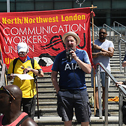 Anti racism campaigners gather outside Emirates Stadium to Take The Knee in support of the England football players who endured racial abuse after the Euro Final on 17th July 2021, London, UK.