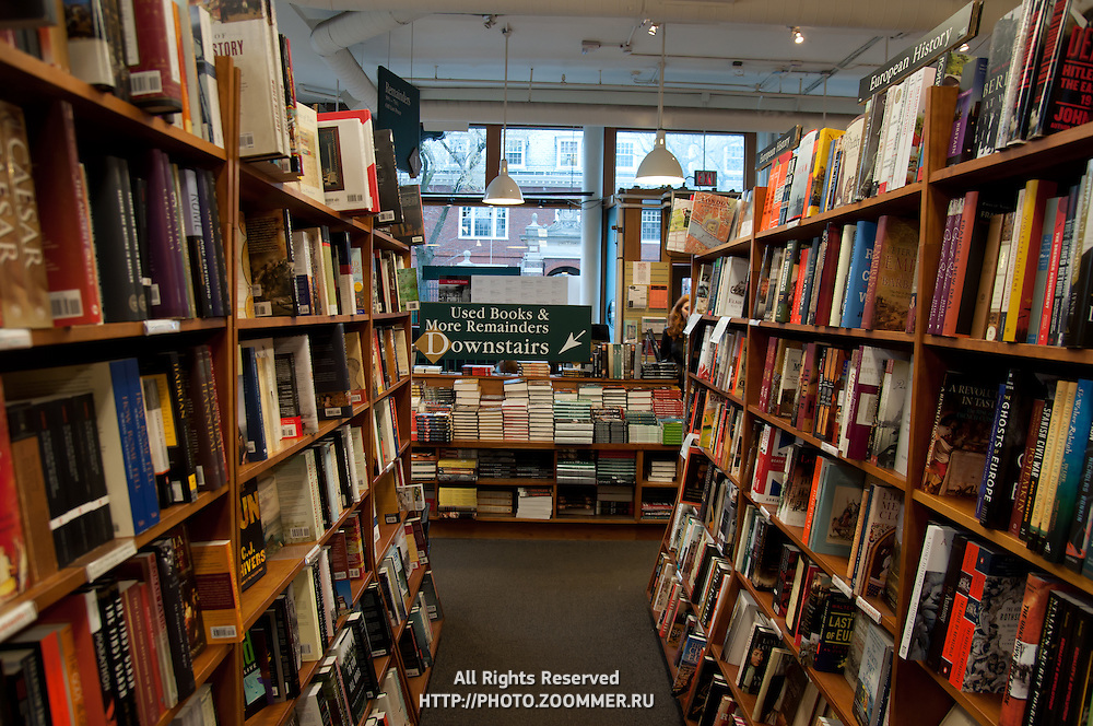 Bookshelves in bookstore In Cambridge, MA