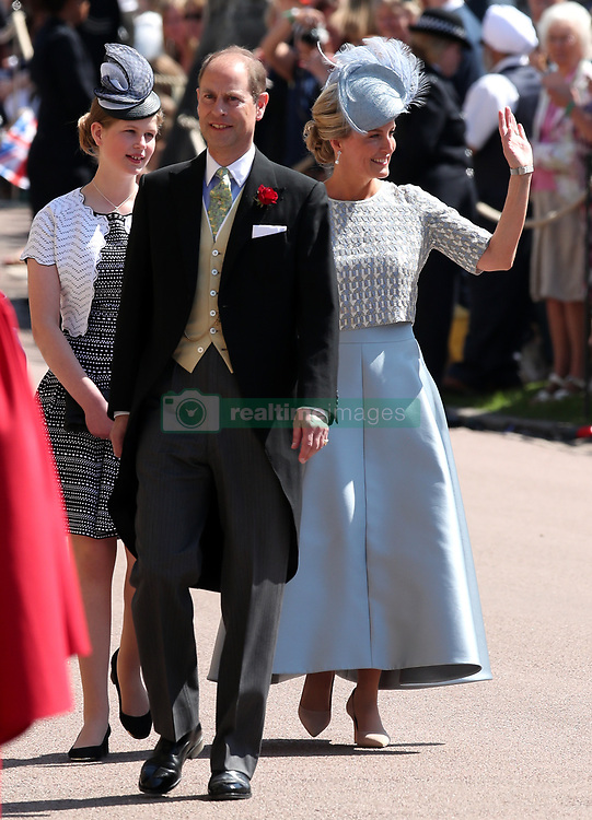 Sophie, Countess of Wessex and Prince Edward arrive at St George's Chapel at Windsor Castle for the wedding of Meghan Markle and Prince Harry.