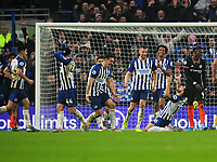 Football - 2019 / 2020 Premier League - Brighton & Hove Albion vs. Chelsea<br /> <br /> Alireza Jahanbakhsh of Brighton celebrates scoring the winning goal with a spectacular overhead kick, with his team mates at The Amex.<br /> <br /> COLORSPORT/ANDREW COWIE