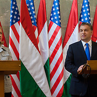 Hillary Rodham Clinton (L) Secretary of State for the United States and Viktor Orban (R) Prime Minister of Hungary attend a press conference after the Opening ceremony of the Tom Lantos Intsitute in Budapest, Hungary. Thursday, 30. June 2011. ATTILA VOLGYI