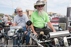 Jeff Tiernan and Vern Acres with all of the 4-Cylinder Henderson's on the boardwalk before the start of the Motorcycle Cannonball Race of the Century Run. Atlantic City, NJ, USA. September 9, 2016. Photography ©2016 Michael Lichter.