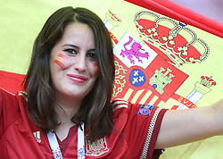 MOSCOW, July 1, 2018  A fan of Spain is seen prior to the 2018 FIFA World Cup round of 16 match between Spain and Russia in Moscow, Russia, July 1, 2018. (Credit Image: © Cao Can/Xinhua via ZUMA Wire)