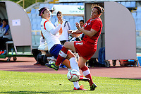 Fifa Womans World Cup Canada 2015 - Preview //<br /> Cyprus Cup 2015 Tournament ( Gsz Stadium Larnaca  - Cyprus ) - <br /> Canada vs South Korea 1-0  //   SHIM Seoyeon of South Korea (L), challenges with Rhian Wilkinson of Canada (R)