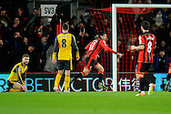 AFC Bournemouth midfielder Charlie Daniels celebrates scoring a goal to give a 1-0 lead to the home team during the Premier League match between Bournemouth and Arsenal at the Vitality Stadium, Bournemouth, England on 3 January 2017. Photo by Graham Hunt.
