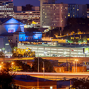 Kansas City's Crown Center area and Union Station, view from Observation Park, downtown Kansas City, Missouri.