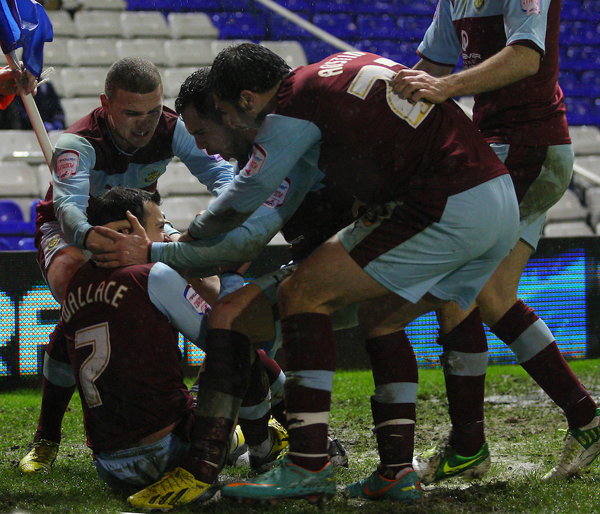 Burnley's Ross Wallace celebrates scoring his sides second goal with his team mates..Football - npower Football League Championship - Birmingham City v Burnley - Saturday 22nd December 2012 - St Andrews - Birmingham..