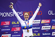 Podium, Women Omnium, Kirsten Wild (Netherlands) gold medal, during the Track Cycling European Championships Glasgow 2018, at Sir Chris Hoy Velodrome, in Glasgow, Great Britain, Day 5, on August 6, 2018 - Photo luca Bettini / BettiniPhoto / ProSportsImages / DPPI<br /> - Restriction / Netherlands out, Belgium out, Spain out, Italy out -