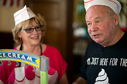 """Rae and John Fleming of Santa Cruz, Calif. prepare their """"Spamoni"""" ice cream at the 22nd annual Spam Festival, Sunday, Feb. 16, 2019, in Isleton, Calif. Spam lovers competed for prizes by presenting their favorite Spam-infused foods, or entering the Spam-eating and Spam-toss contests. The Flemings ended up winning first place in the recipe contest.(Photo by D. Ross Cameron)"""