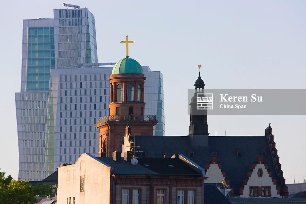 St Paul's Church with modern highrise, Frankfurt, Germany