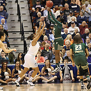 Tamara Taylor, USF, shoots over Kaleena Mosqueda-Lewis, UConn, during the UConn Huskies Vs USF Bulls Basketball Final game at the American Athletic Conference Women's College Basketball Championships 2015 at Mohegan Sun Arena, Uncasville, Connecticut, USA. 9th March 2015. Photo Tim Clayton