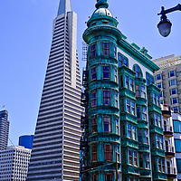 The Transamerica Pyramid from North Beach with the Flatiron Building in the foreground San Francisco California