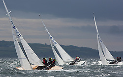 International Dragon Class Edinburgh Cup 2015.<br /> <br /> The first days racing in a strong southerly.<br /> GBR343, WIZZ TOO, Henry Boyd & Helen Horsfall, Royal Forth YC\<br /> <br /> <br /> Credit Marc Turner