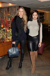 LONDON, ENGLAND 2 DECEMBER 2016: <br /> Left to right, Hum Fleming, Roxie Nafousi at a breakfast attended by a host of influencers, press and VIPs to celebrate the official launch of EVARAE the new British luxury resort wear brand, held at The Hari Hotel, 20 Chesham Place, London.  England. 2 December 2016.
