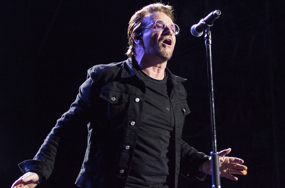 U2 performing at Bonnaroo in Manchester, TN on June 9, 2017.