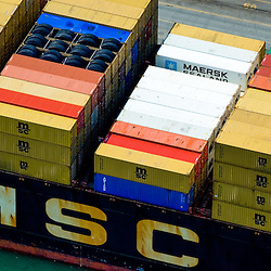 Aerial view of MSC Container Cargo Ship in the Port of Montreal, Canada