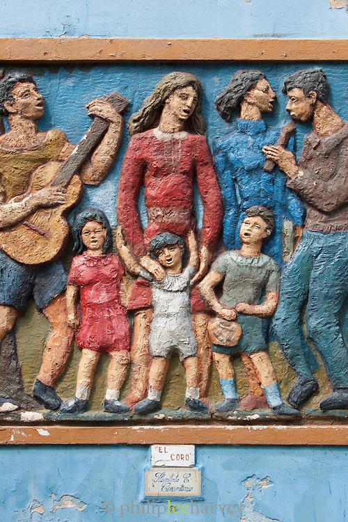 Carved murals, La Boca, Buenos Aires, Argentina, South America