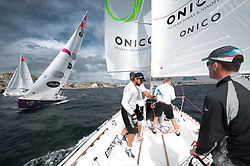 Inboard with team Origine during the practice of the Stena Match Cup 2010, Masrtrand - Sweden. World match racing tour. photo: Loris von Siebenthal - myimage