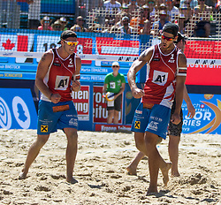 29.07.2016, Strandbad, Klagenfurt, AUT, FIVB World Tour, Beachvolleyball Major Series, Klagenfurt, Herren, im Bild Martin Ermacora (1, AUT), Moritz Pristauz-Telsnigg (2, AUT) // during the FIVB World Tour Major Series Tournament at the Strandbad in Klagenfurt, Austria on 2016/07/29. EXPA Pictures © 2016, PhotoCredit: EXPA/ Lisa Steinthaler