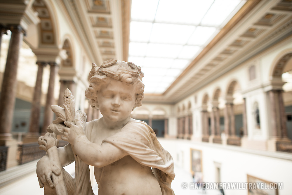 A 17th century sculpture by Ludovicus Willemsens (1630-1702) titled L'Abondance on display at the Royal Museums of Fine Arts in Belgium (in French, Musées royaux des Beaux-Arts de Belgique), one of the most famous museums in Belgium. The complex consists of several museums, including Ancient Art Museum (XV - XVII century), the Modern Art Museum (XIX ­ XX century), the Wiertz Museum, the Meunier Museum and the Museé Magritte Museum.