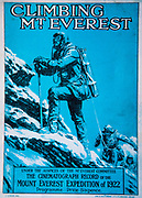 Climbing Mt Everest, postcard advertising lecture of British Mount Everest Expedition 1922 by Captain John Noel.