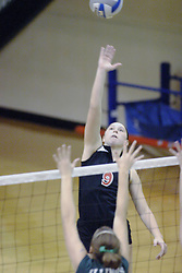 27 October 2006: Ali Crouch reaches high for some power as the ball is set for her. The Bears won the match 3 games to 1. The match between the Washington University Bears and the Illinois Wesleyan Titans took place at Shirk Center on the IWU campus in Bloomington Illinois.<br />
