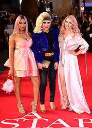 Munroe Bergdorf, Jodie Harsh and Courtney Act attending the UK Premiere of A Star is Born held at the Vue West End, Leicester Square, London.