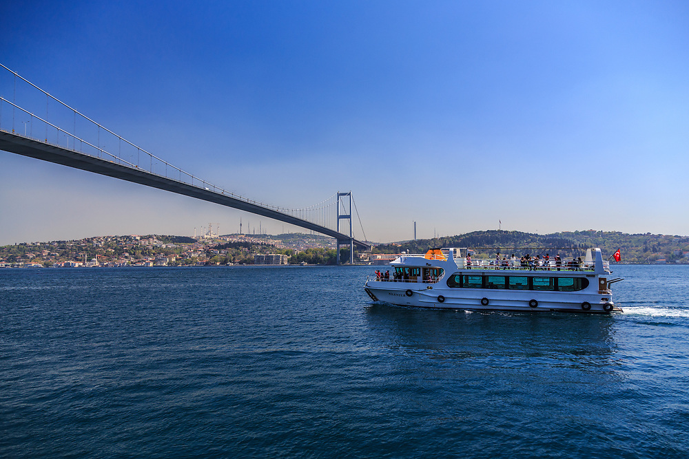 The 15 July Martyrs Bridge or unofficially the Bosphorus Bridge in Istanbul, Turkey. The bridge connects Ortaköy (in European site) and Beylerbeyi (in Asian site).