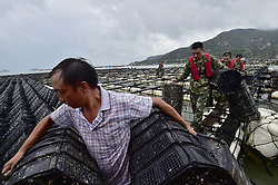 July 29, 2017 - Ningde, Fujian, China - Soldiers help fishermen carry shellfish cages as they prepare to avoid damage before the typhoon Nesat arrives in Ningde City, southeast China. Nesat will be the first typhoon to hit Taiwan this year, and the centre of the storm is expected to make landfall late Saturday afternoon local time. (Credit Image: © Yuan Ziyou/Xinhua via ZUMA Wire)