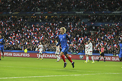 October 10, 2017 - Paris, France - Antoine Griezmann of France celebrates a score goal of  1-0 during the Fifa 2018 World Cup qualifying match between France and Belarus on October 10, 2017 in Paris, France. (Credit Image: © Elyxandro Cegarra/NurPhoto via ZUMA Press)