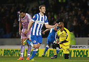 Brighton striker James Wilson celebrates after making it 1-0 during the Sky Bet Championship match between Brighton and Hove Albion and Reading at the American Express Community Stadium, Brighton and Hove, England on 15 March 2016. Photo by Bennett Dean.
