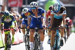 August 19, 2018 - Geraardsbergen, BELGIUM - Czech Zdenek Stybar of Quick-Step Floors and Belgian Oliver Naesen of AG2R La Mondiale crosses the finish line of the final stage of the Binkcbank Tour cycling race, 209,5 km from Lacs de l'Eau d'Heure to Geraardsbergen, Belgium, Sunday 19 August 2018. BELGA PHOTO DAVID STOCKMAN (Credit Image: © David Stockman/Belga via ZUMA Press)