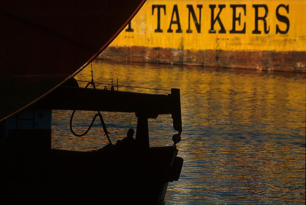 Close-up detail of oil tanker.