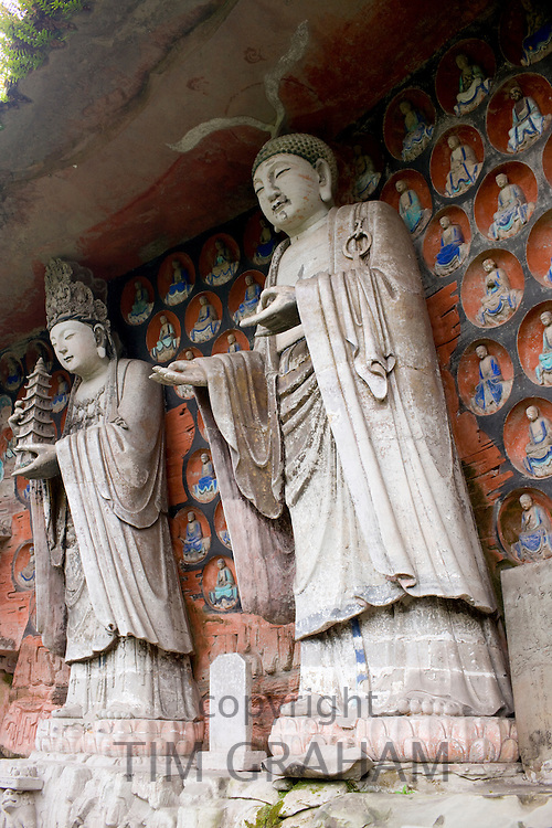 Dazu rock carvings of Buddha of Wisdom and Buddha of Great Sunlight at Mount Baoding, Chongqing, China
