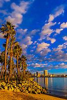 Looking from Coronado Island across San Diego Bay to downtown San Diego, California USA.